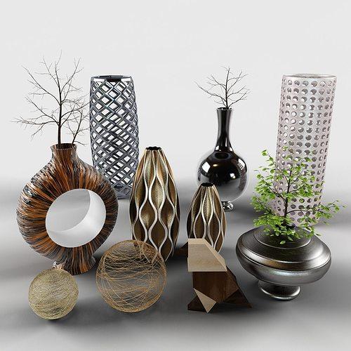 Decor Set Cody Bird Vases Branch 3d Model Max Obj Fbx Mtl Mat 2