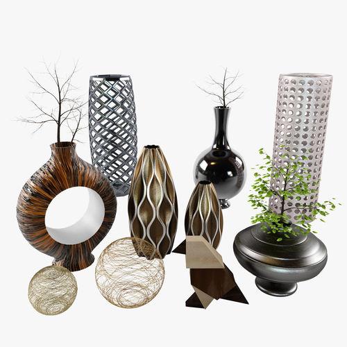 Decor set cody bird vases branch 3d model max obj fbx for Decor 3d model