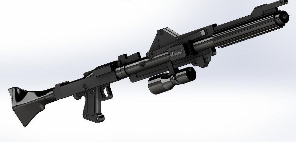 DC15A Clones Blaster Rifle 3D Model Rigged STL
