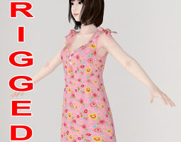 rigged T pose rigged model of Mariko in pink dress
