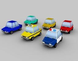 3d asset low-poly cartoon vehicles