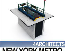 3D model New York Subway Metro Entrance A