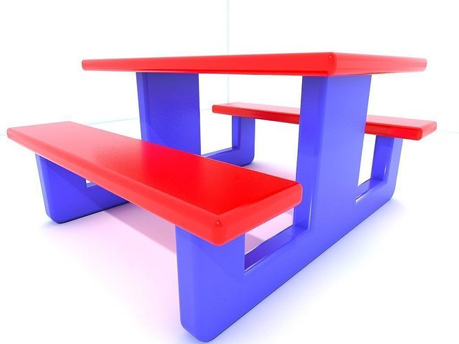 bench seat 3d model low-poly obj mtl 3ds fbx 1
