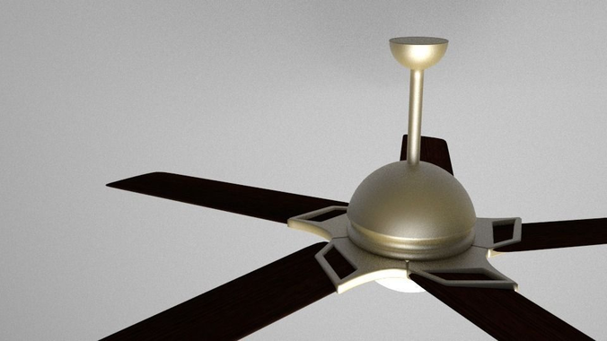 Wooden Ceiling Fan 3D Model Obj 3ds Fbx Blend