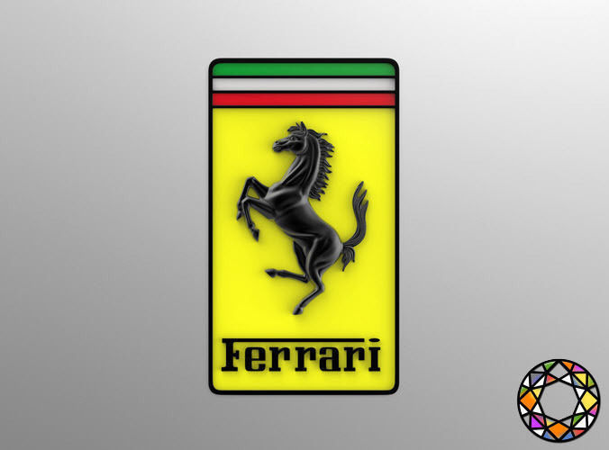 3d model ferrari logo with horse and shield vr ar low