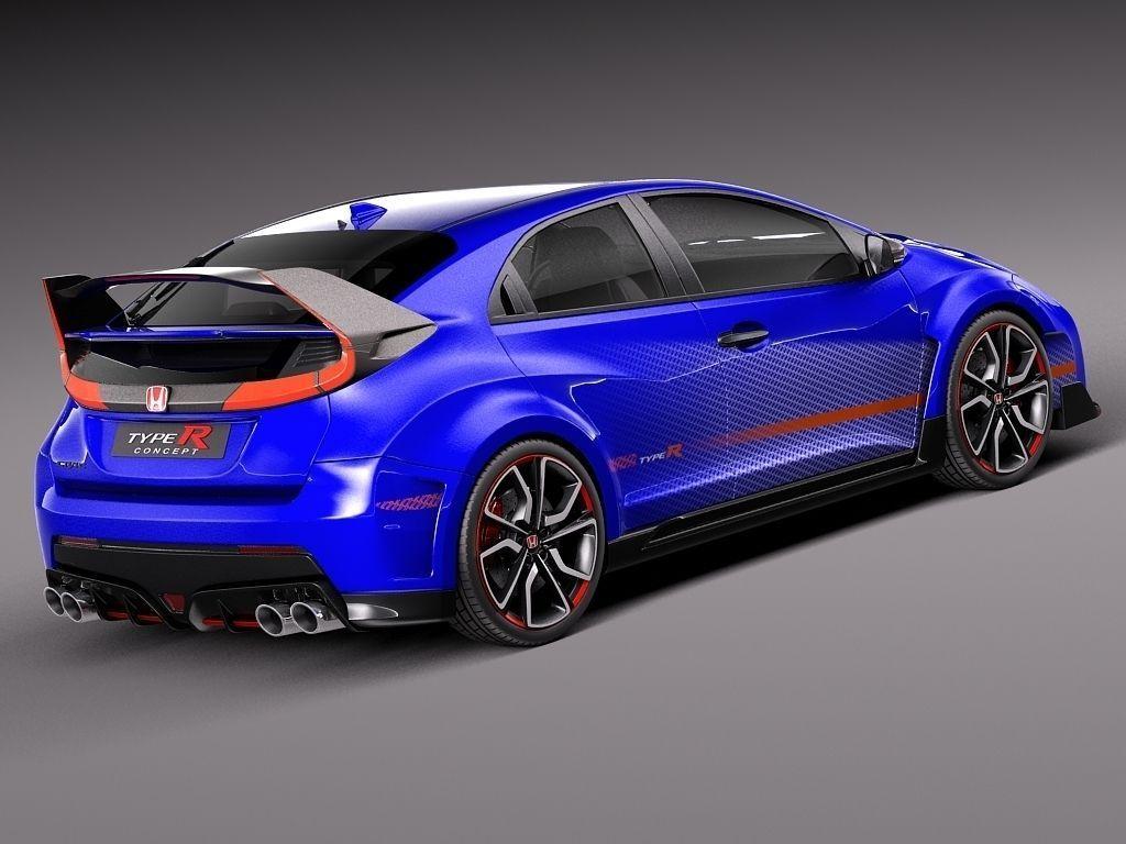 Honda civic type r concept 2015 3d model max obj 3ds fbx for Honda civic 2015 model