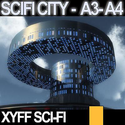 Sci fi city futuristic architecture a3 a4 3d model obj 3ds - Architecture 3d vue 3d ...