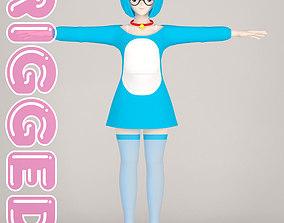 T pose rigged model of Doraemon toon girl 3D