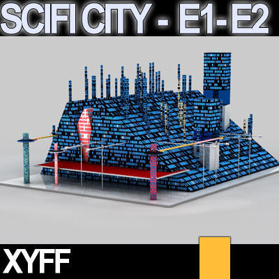 Sci fi city futuristic architecture e1 e2 3d model obj 3ds for Architecture 3d vue 3d