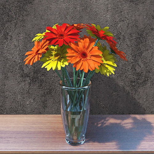 gerbera flowers 3d model max fbx 1