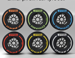 enkei rear tyre set 3D asset