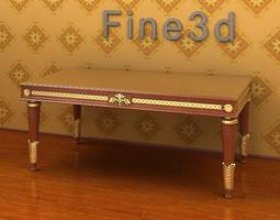 Antique Rectangular Table 09-052a 3D Model