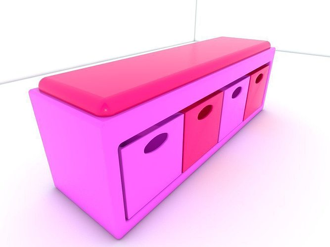 stool seat pink 3d model low-poly obj mtl 3ds fbx 1