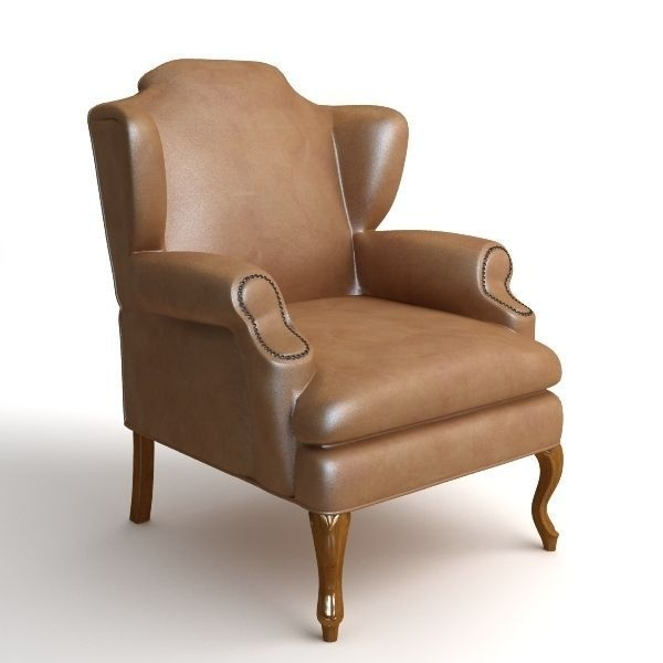 Leather Wing Chair 2 3d Model Max Obj 3ds Fbx Mtl 1 ...