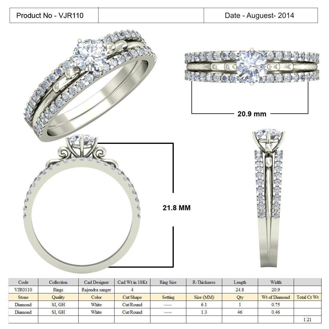Jewelry 3D CAD STL Files- VJR110 3D Model 3D Printable