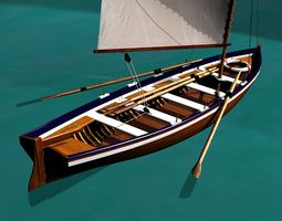 3d model low-poly captain gig boat  19th century