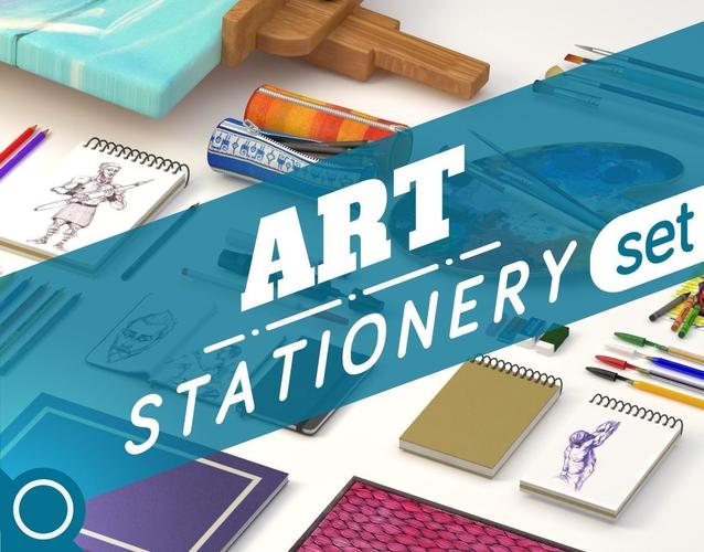 Art Stationery Set3D model