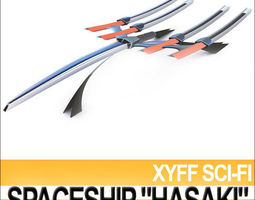 Xyff Sci Fi Spaceship Starfighter Hasaki 3D Model