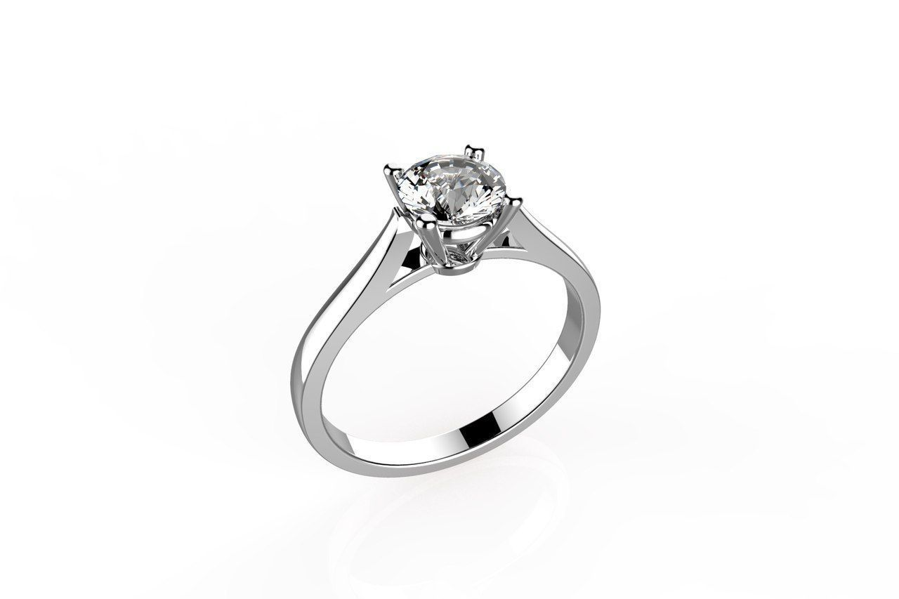 cartier solitaire ring 3d model 3d printable  stl  3dm