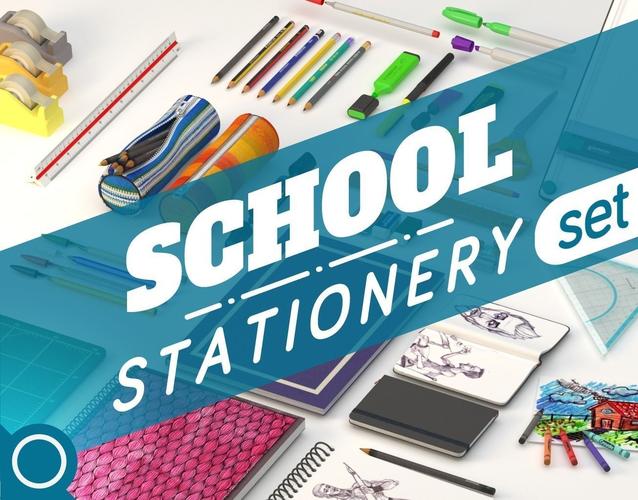 School Stationery Set3D model