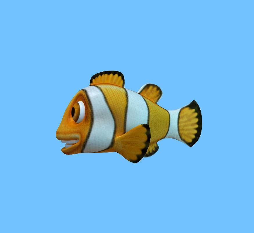 3d model cartooon of clown fish vr ar low poly obj fbx for Clown fish price