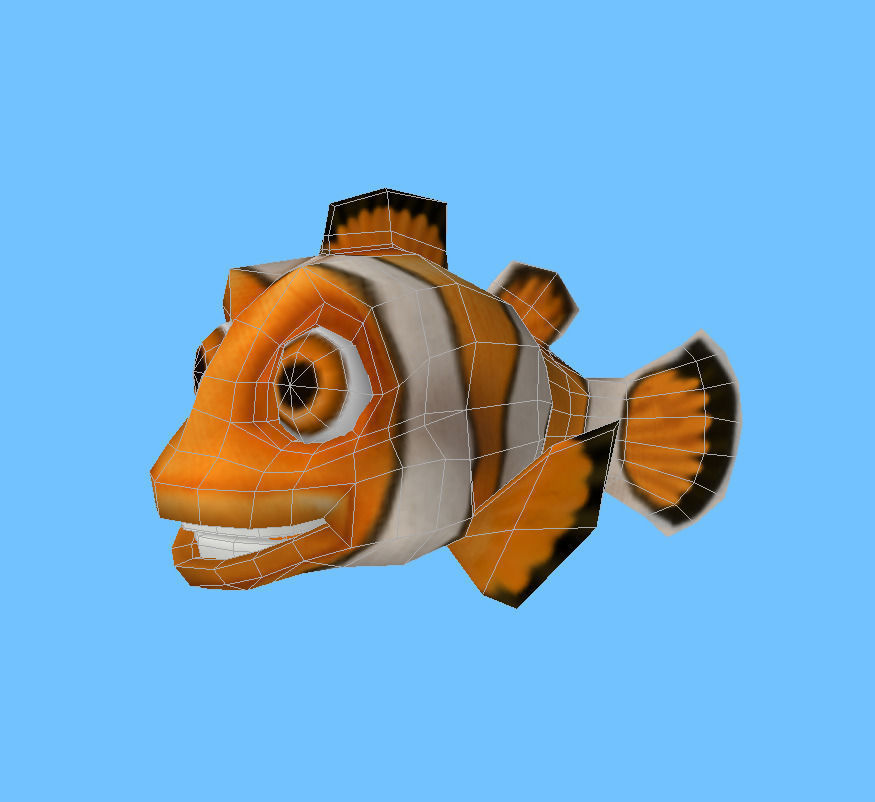 Cartooon of clown fish 3d model game ready obj fbx lwo for Clown fish price