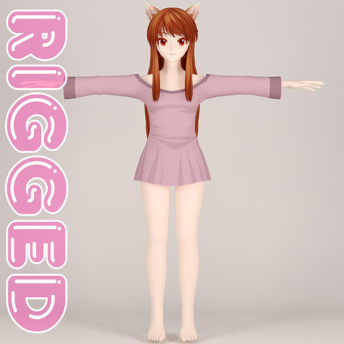 t pose rigged model of horo 3d model rigged max fbx tga 1