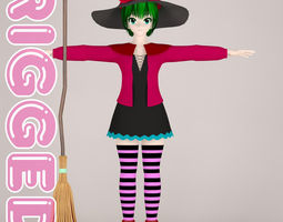 rigged corset T pose rigged model of witch toon girl