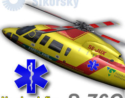 sikorsky s-76c norrlandsflyg 3d model low-poly rigged animated max
