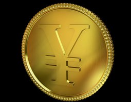 Yen Golden Coin 3D Model