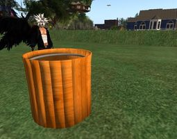wood trash bin 3D Model