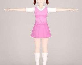 shizuka 3D T pose nonrigged model of Shizuka toon girl