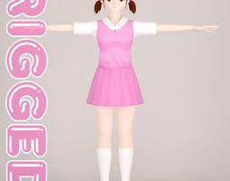 T pose rigged model of Shizuka toon girl cute rigged
