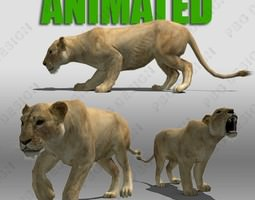 3D asset Lioness Animated