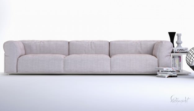 Modern long sofa 3d model max for How long is a loveseat