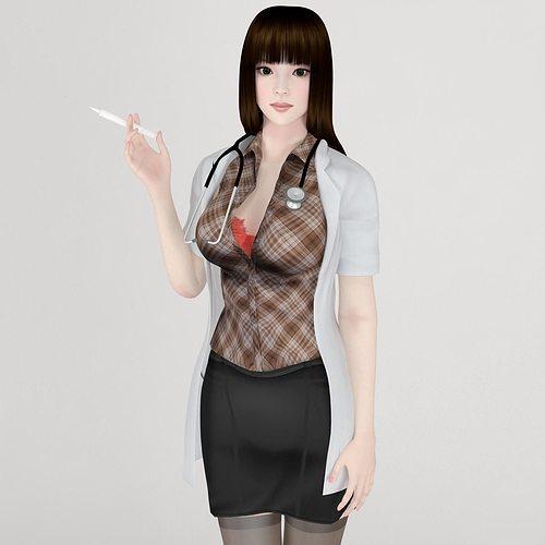 akari doctor pose 01 3d model max obj mtl fbx 1