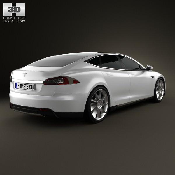 3d 2012 Tesla Roadster Sport: Tesla Model S 2012 3D Model MAX OBJ 3DS FBX C4D LWO LW LWS
