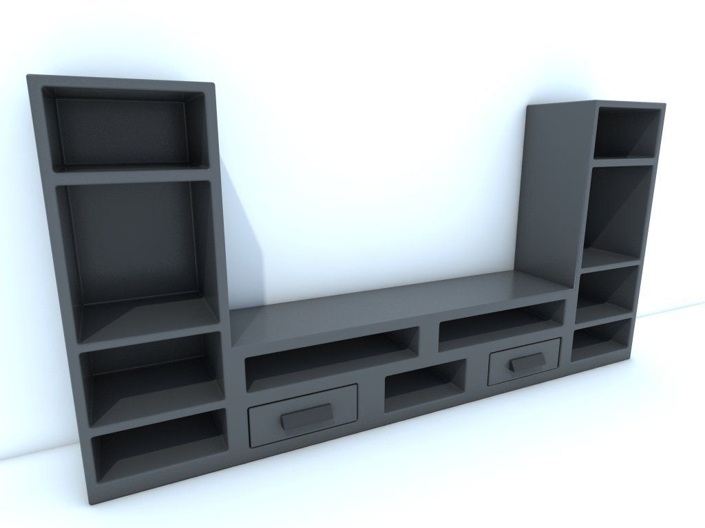 3d model tv stand vr ar low poly obj. Black Bedroom Furniture Sets. Home Design Ideas