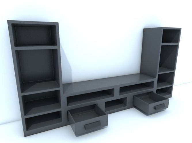 tv stand 3d model game ready obj. Black Bedroom Furniture Sets. Home Design Ideas