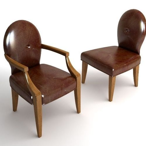 2 Leather Chairs3D model