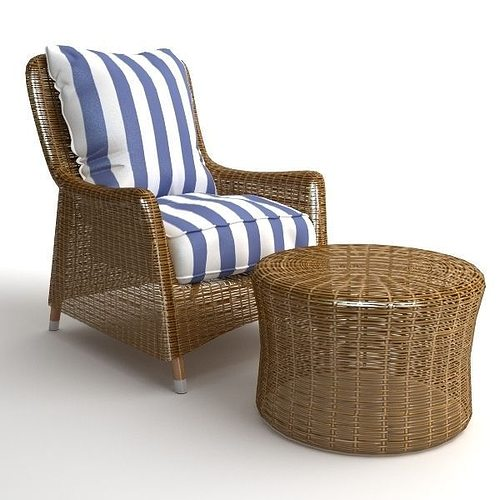wicker armchair and ottoman 3d model max obj mtl 3ds fbx 1