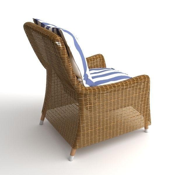 ... Wicker Armchair And Ottoman 3d Model Max Obj Mtl 3ds Fbx 5 ...