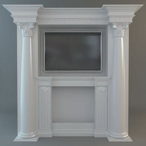 Classical Style Wall with Flatscreen TV3D model