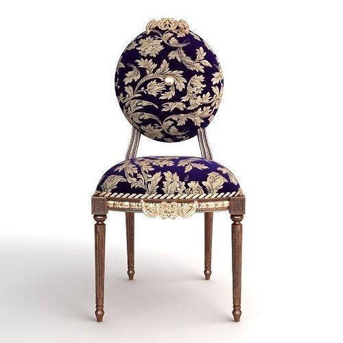 ... antique chair brocade armless 2 3d model max obj 3ds fbx mtl 4 ... - 3D Model Antique Chair Brocade Armless 2 CGTrader