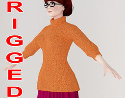 rigged T pose rigged model of Velma Dinkley