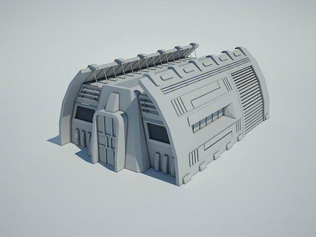 Futuristic sci fi building scifi 3d cgtrader for Futuristic household items
