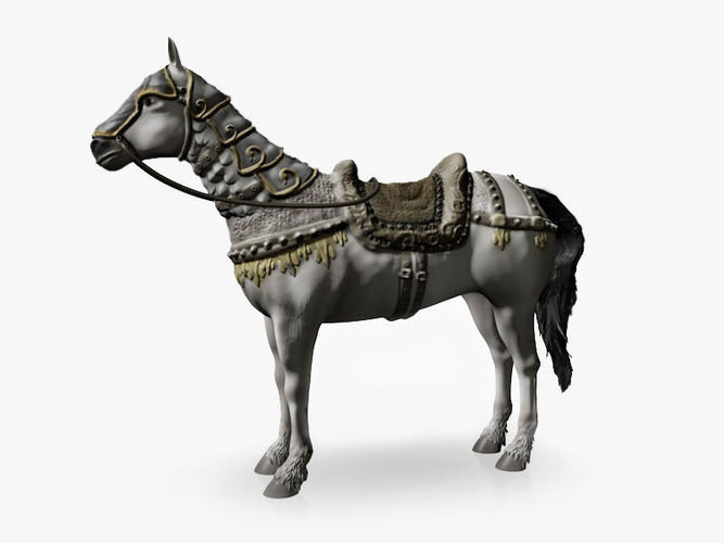 White horse with armor3D model