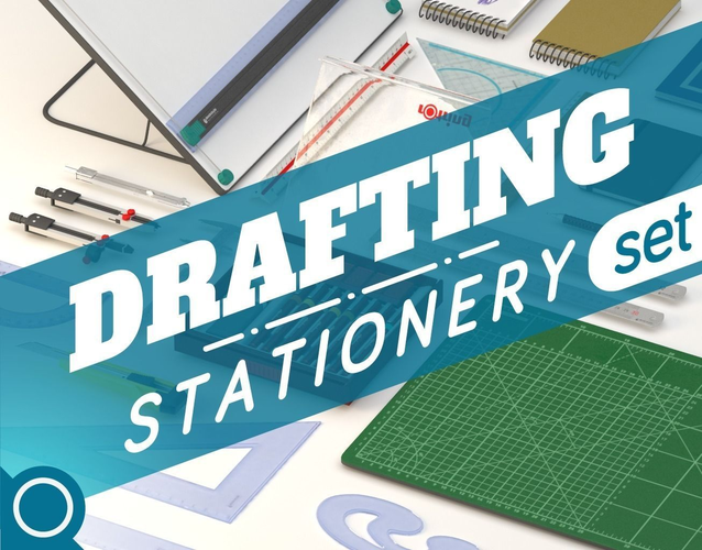 Drafting Stationery set3D model
