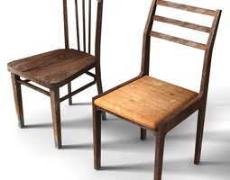 Old Low Poly Chairs 3D asset