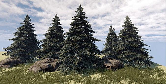 fir tree 3d model low-poly max obj mtl fbx tga 1